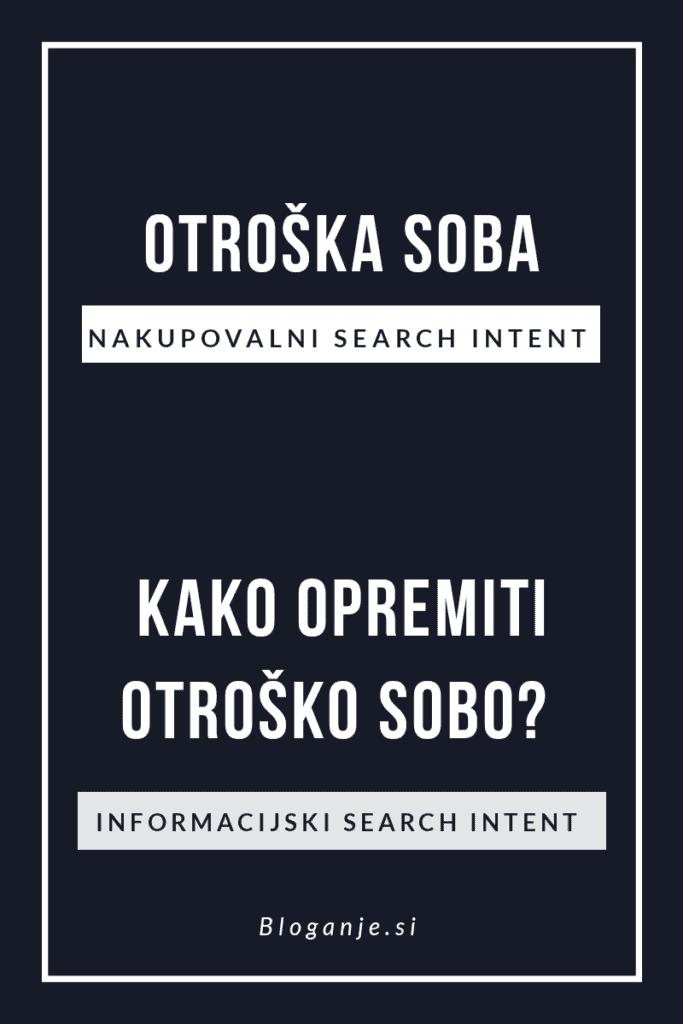 Primer informacijskega in nakupovalnega search intenta